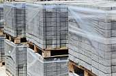 Packed cobblestones on pallets