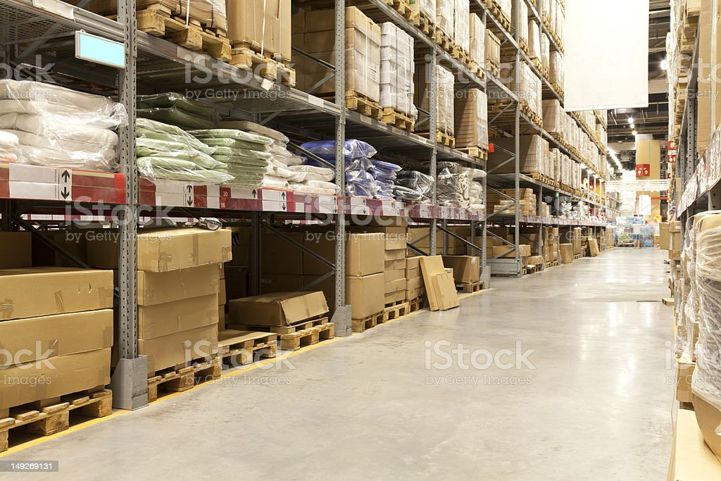 Packed goods in a distribution warehouse royalty-free stock photo