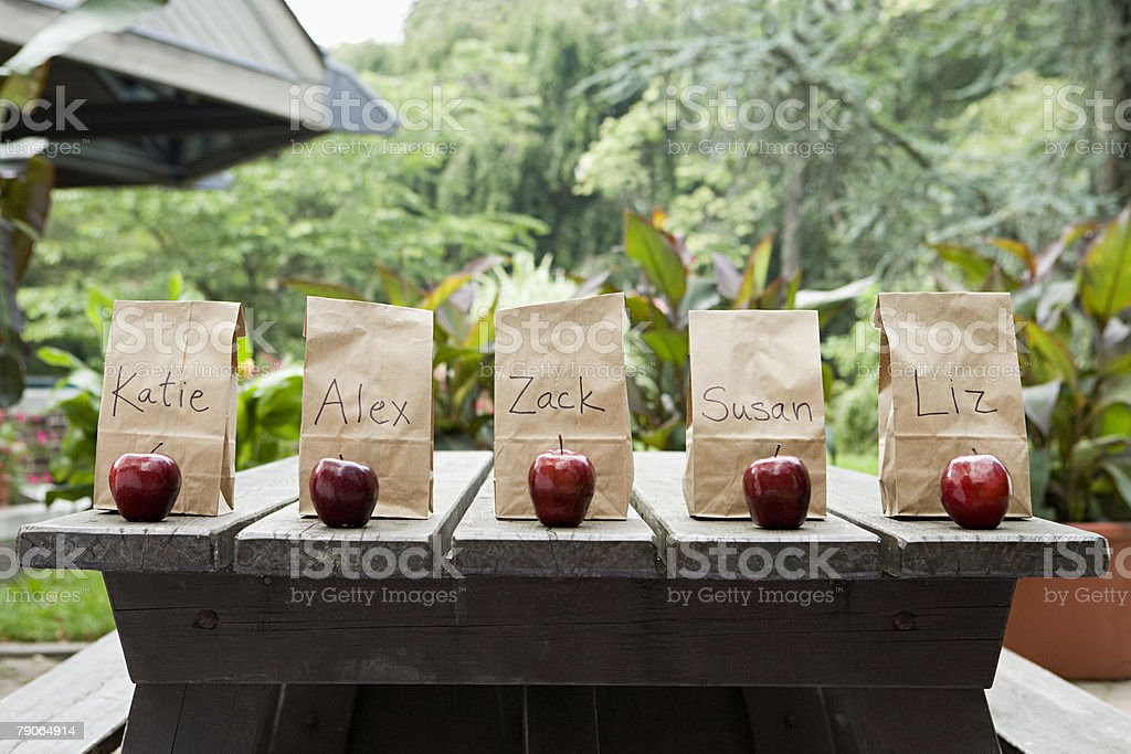 Packed lunches on a picnic table stock photo