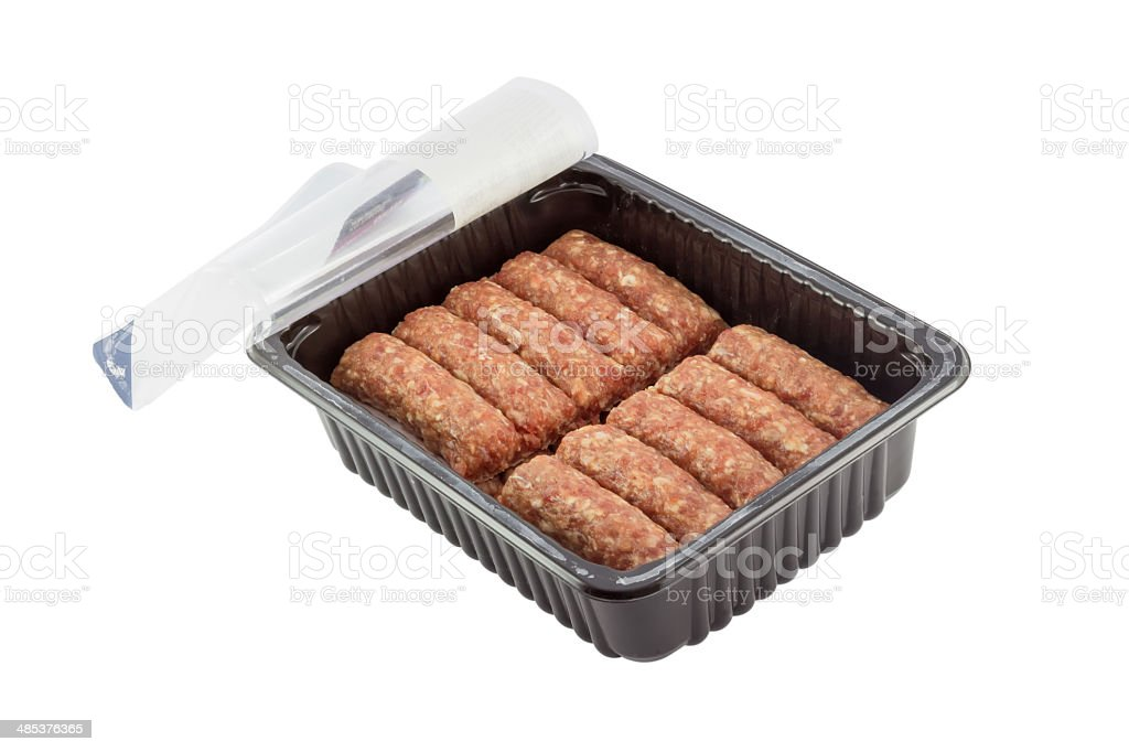 packed minced meat from supermarket stock photo