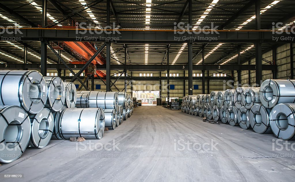 Packed rolls of steel sheet, Cold rolled steel coils stock photo