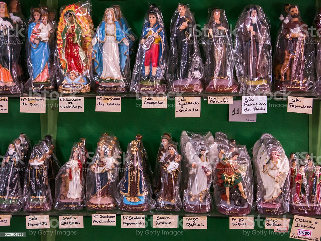 Packed saints statues in a tradicional brazilian shop stock photo