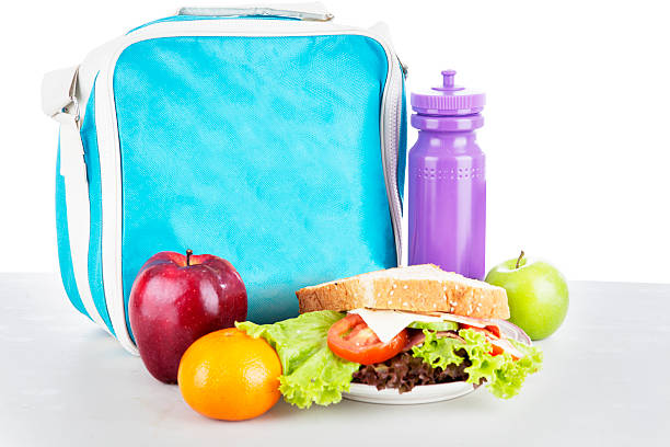 Packed school lunch stock photo