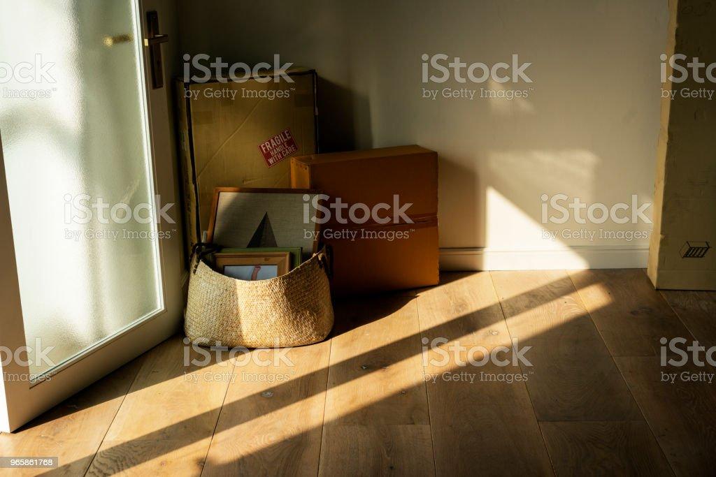 Spullen verpakt in nieuwe woning - Royalty-free Appartement Stockfoto