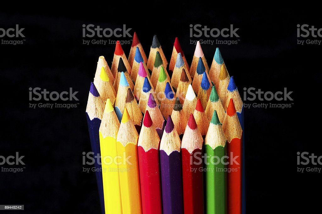 Packet of colored crayons royalty-free stock photo