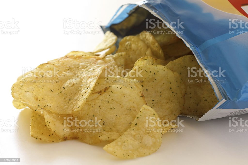 packet of crisps with cheese and spring onion flavour stock photo