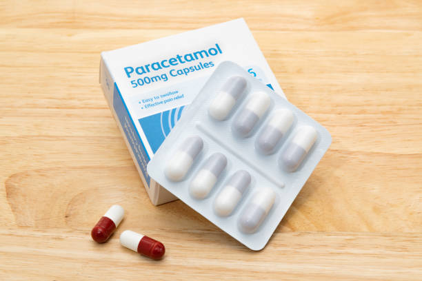 Packet of generic Paracetamol tablets stock photo