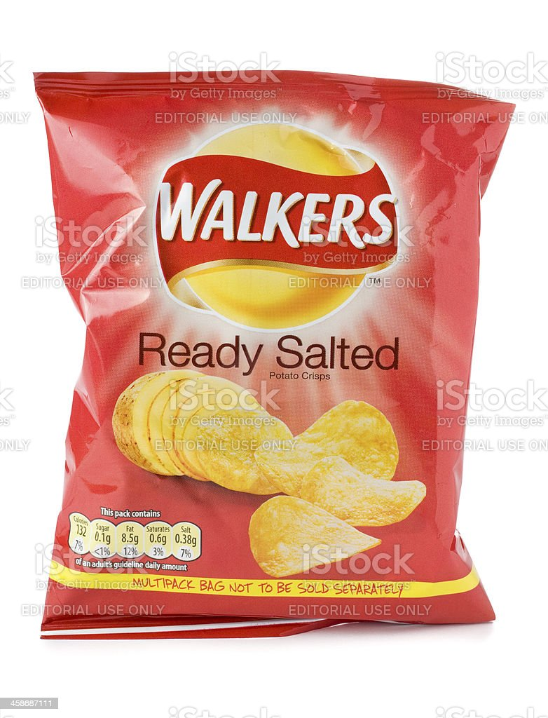 Packet of Walkers ready salted crisps on a white background stock photo