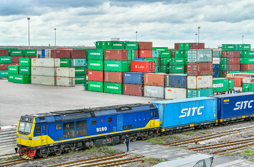 Bangkok, Thailand - Aug 15, 2021:Packing and separating railway station Lat Krabang was built for convenience Provide services to exporters importers in all activities related to container products.