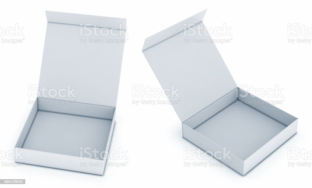 Packing, blank box with a hinged lid stock photo