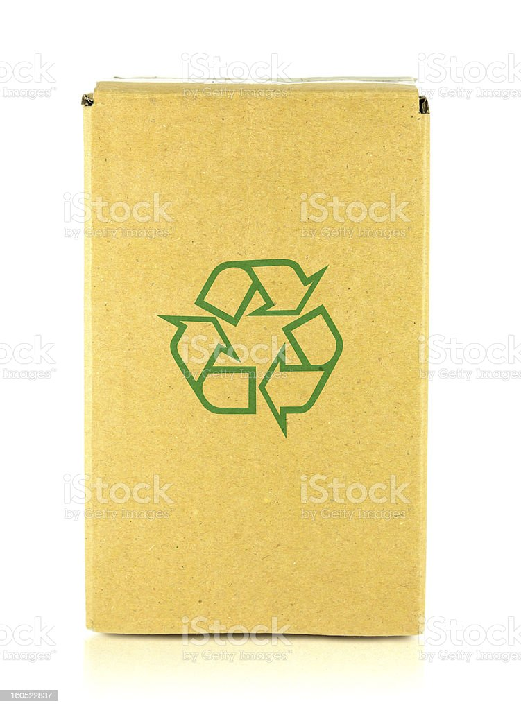 Packing box with recycle symbol royalty-free stock photo
