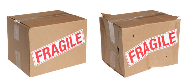 Packing Boxes Before and After stock photo