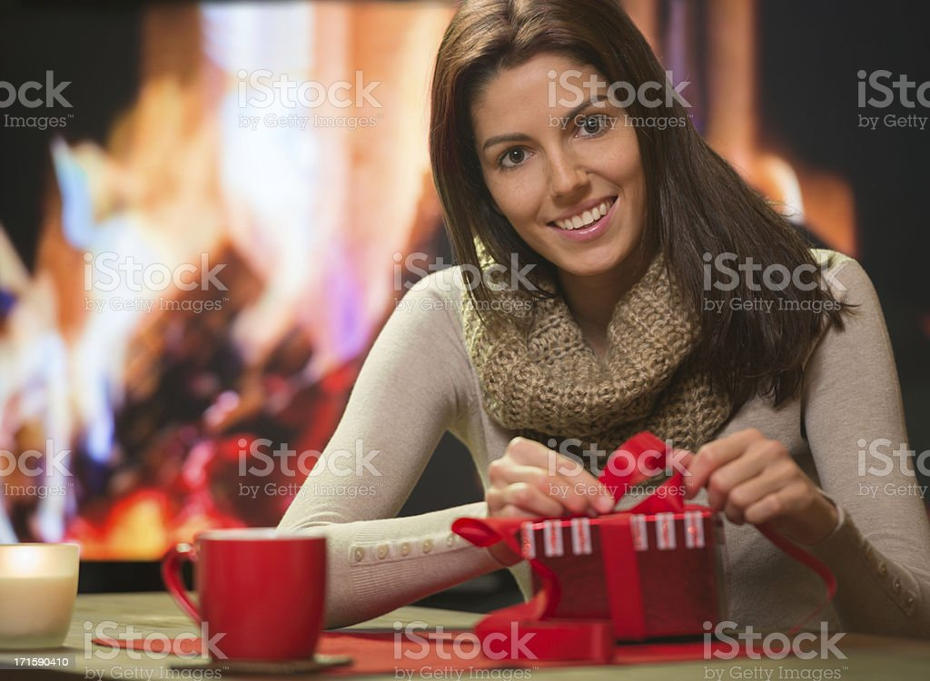 Packing Christmas Presents royalty-free stock photo