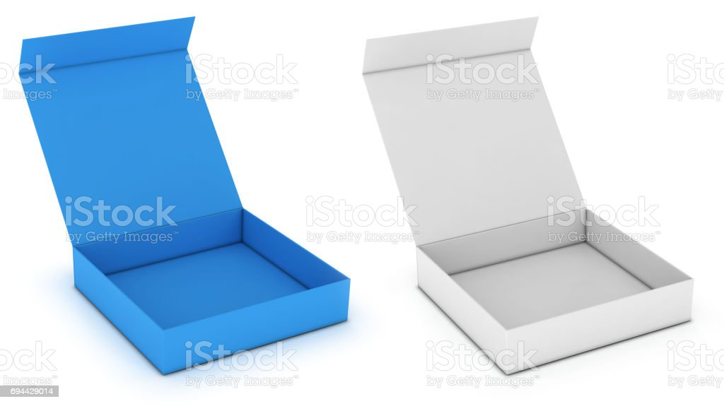 Packing colored boxes with a hinged lid stock photo