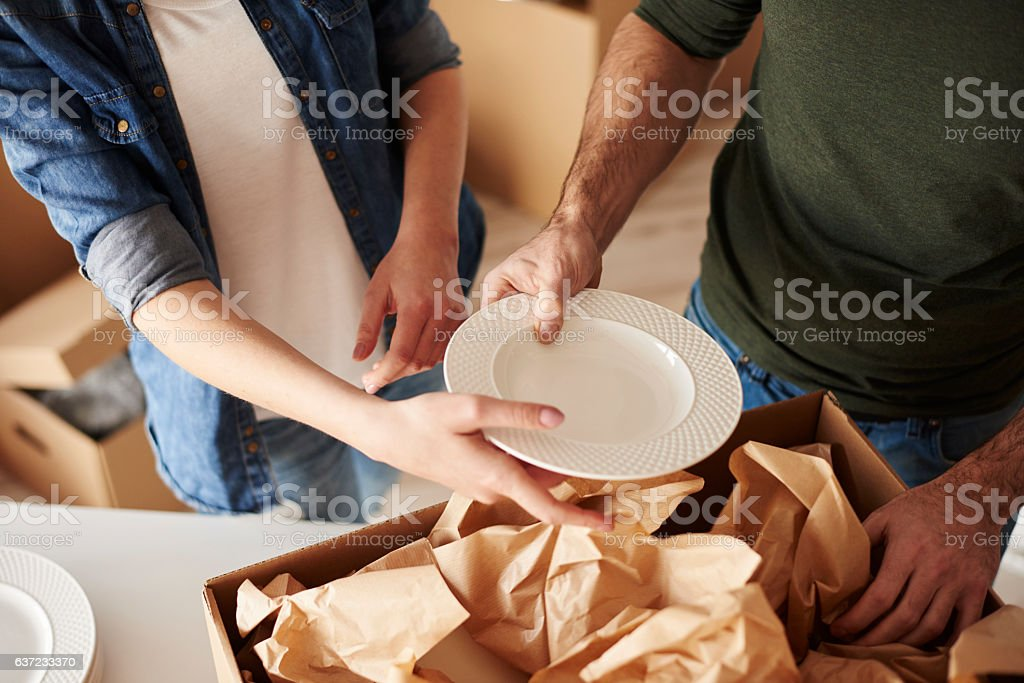 Packing dinnerware to the boxes royalty-free stock photo