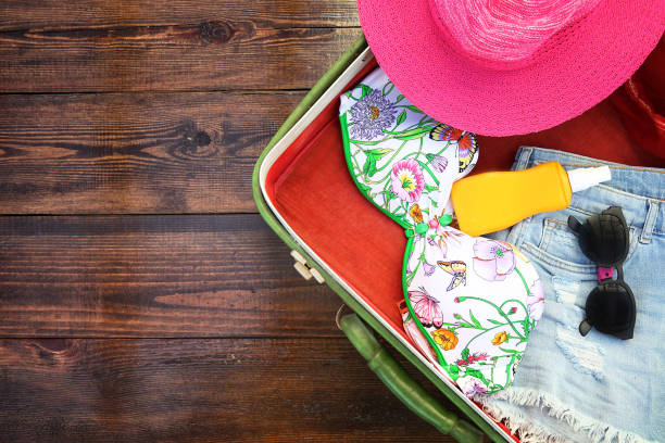 Packing for a summer holiday stock photo