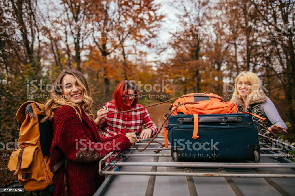 Packing for road trip stock photo