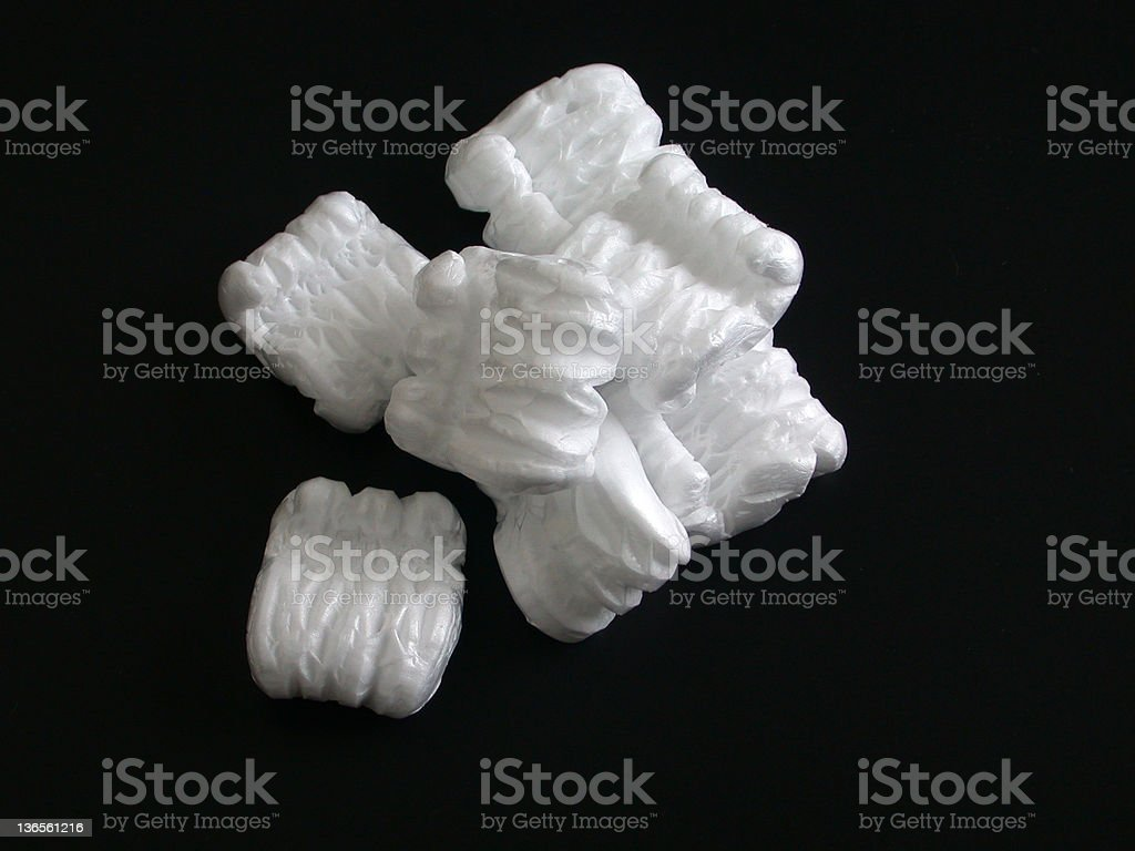Packing Peanuts on Black stock photo