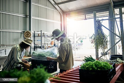 Cropped shot of two male farmers packing produce in their warehouse on the farm