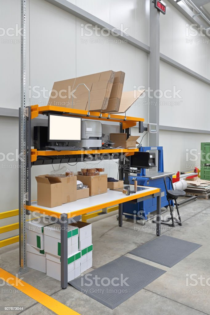 Packing Station stock photo