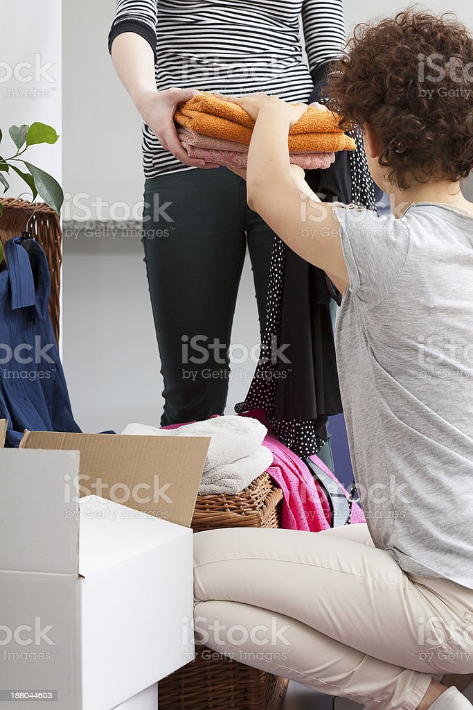 Packing towels royalty-free stock photo