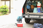 Vehicle fully packed for an autumn hiking and camping trip.