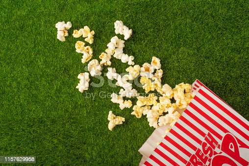 Packing with popcorn on a green lawn. Grass. Watching films on nature. In parks. Rest and entertainment. background
