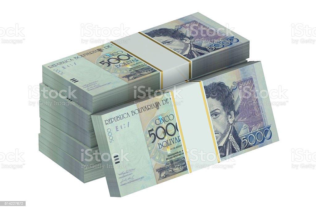 packs of Venezuelan bolivar stock photo