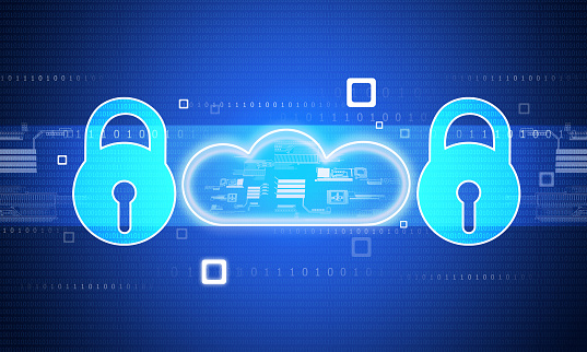 istock Pad lock with cloud on blue background 1048155154