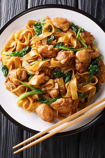 pad see ew the popular thai stir fried noodles closeup on