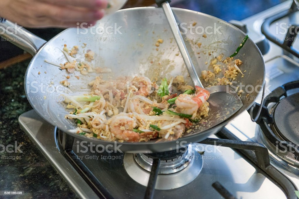 Pad Thai, Cooking in a Wok, Thailand stock photo