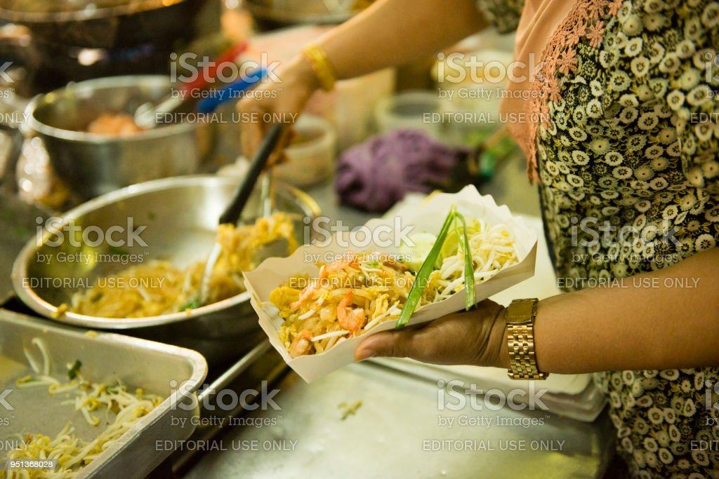 Pad Thai Food At Krabi Town Thailand Night Market Stock