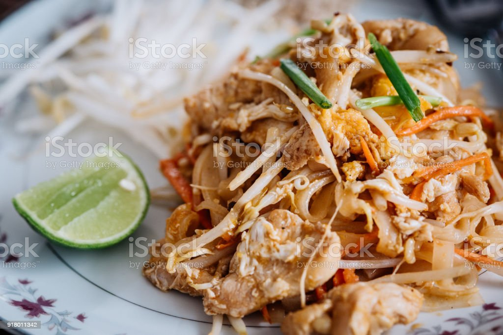 Pad Thai meal served with chicken or prawns stock photo
