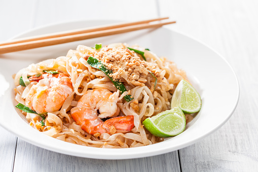 pad thai stir fried asian noodles with shrimp egg tofu and
