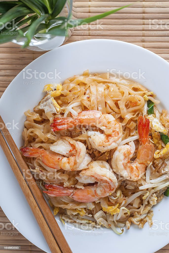 Pad Thai with shrimps royalty-free stock photo