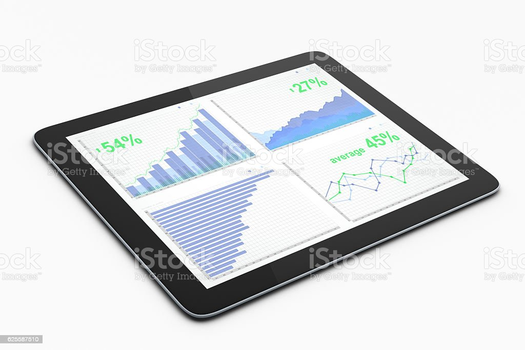 Pad with business chart stock photo