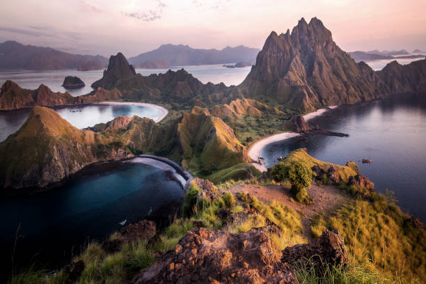 Padar Island, Komodo National Park, Indonesia Magical Scenes in Indonesia's Padar Island indonesia stock pictures, royalty-free photos & images
