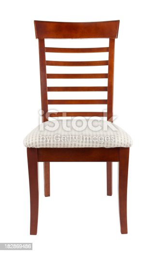 Padded dining room chair isolated on white.