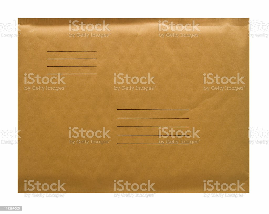 Padded Envelope, Clipping Path in File, Isolated on White royalty-free stock photo
