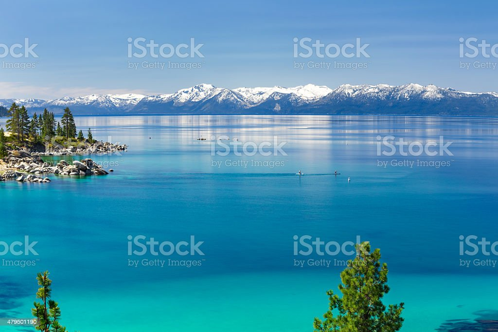Paddle boarding Lake Tahoe stock photo