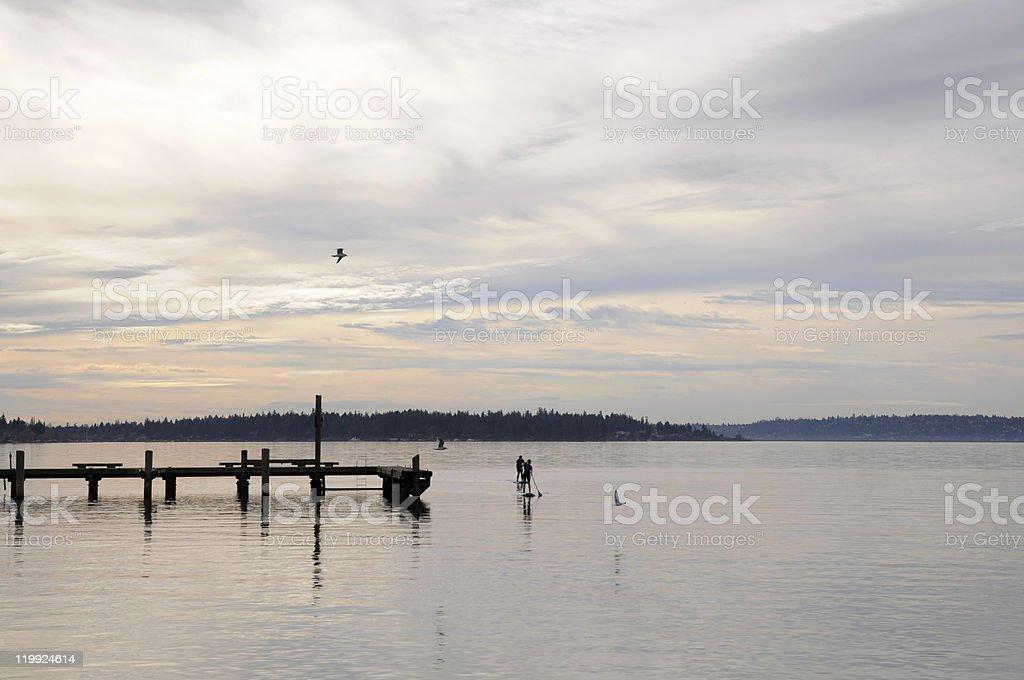 Paddle boarding on Lake Washington royalty-free stock photo