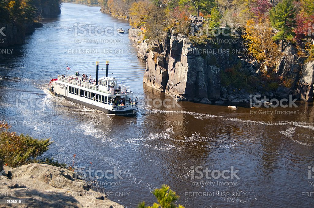 Paddle Boat on the St. Croix River stock photo