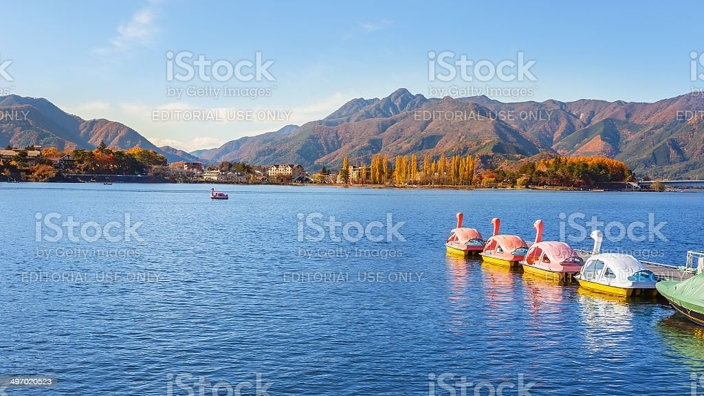 Paddle Boats at Lake Kawaguchiko stock photo