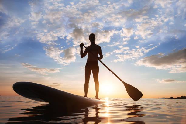 paddle standing - stehpaddeln stock-fotos und bilder
