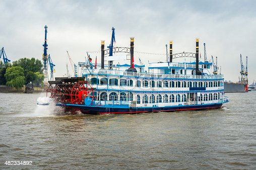 istock paddle steamer at harbor Hamburg 482334892