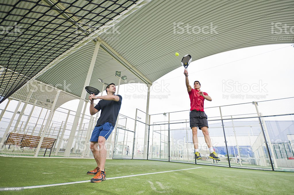Paddle tennis player ready for match stock photo