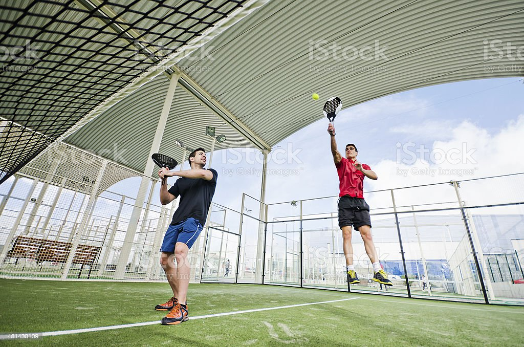 Paddle tennis player redy for match stock photo