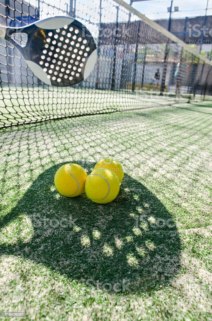 Paddle tennis shadow stock photo