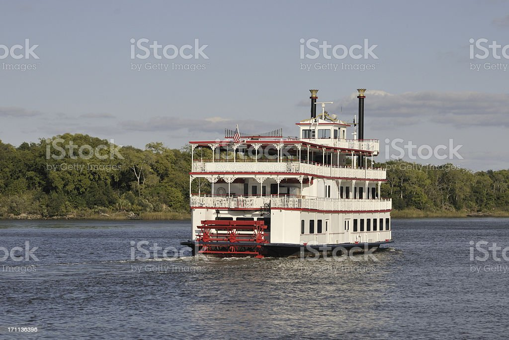 Paddle Wheel Steamboat on River stock photo