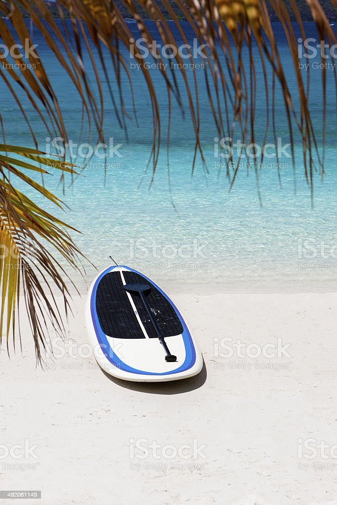 paddleboard and oar on a tropical beach in the Caribbean royalty-free stock photo